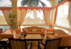 Tropical resort lounge area Stock Photos