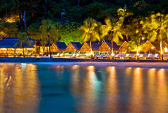 Tropical Resort at Night Stock Photos