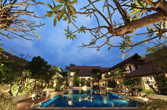 Tropical resort at night. Tropical resort and swimming pool at night Stock Images