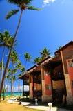 Tropical resort on ocean shore. Luxury tropical resort on ocean shore with palm trees Royalty Free Stock Photos