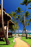 Tropical resort on ocean shore. Luxury tropical resort on ocean shore with palm trees Royalty Free Stock Photo