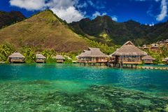 Tropical resort with over water bungalows on Moorea Island Royalty Free Stock Photography
