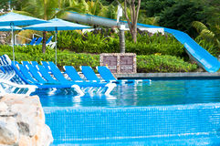 Tropical resort pool. Tropical resort with a luxury pool Stock Photography