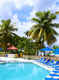 Tropical Resort Pool. Poolside at a vacation getaway destination on St. Croix in the U.S. Virgin Islands Stock Images