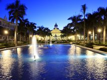 Tropical resort with pool and fountain Royalty Free Stock Photography
