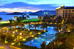 Tropical resort pool in night Stock Images