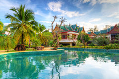 Tropical resort scenery in Thailand. Swimming pool in tropical scenery of Thailand Stock Image