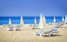 Tropical resort sea beach with sunbeds and umbrellas on white sand on sunny day. Summer vacation concept.  stock photography