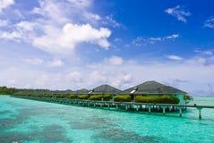 Tropical resort stilt houses Royalty Free Stock Images