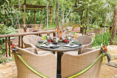 Tropical resort style table setup Stock Image