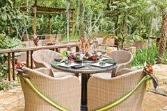 Tropical resort style table setup Stock Image