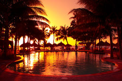 Tropical Resort Sunset Stock Images