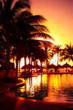 Tropical Resort Sunset Royalty Free Stock Photography