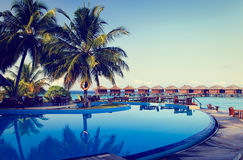 Tropical resort swimming pool and cafe bar Royalty Free Stock Image