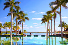 Tropical resort. Swimming pool at luxury resort in Mauritius Island Royalty Free Stock Photography