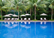 Tropical resort swimming pool Royalty Free Stock Photos