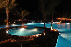 Tropical Resort Swimming Pool at Night. With Palm Trees Stock Photos