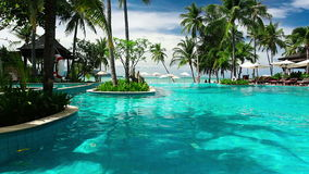 Tropical resort with swimming pool and ocean view. Tropical resort with swimming pool, palm trees and ocean view stock video footage