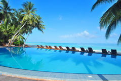 Tropical resort swimming pool overlooking sea Royalty Free Stock Images
