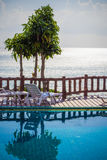 Tropical resort swimming pool overlooking sea. Koh Stock Images