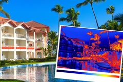 Tropical resort and thermal imaging Royalty Free Stock Images