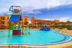 Tropical resort Three Corners Sunny Beach hotel. HURGHADA, EGYPT - APR 9, 2013: Tropical resort Three Corners Sunny Beach in Hurghada on 12 April 2013. Three Stock Photography