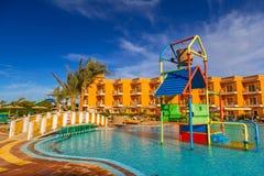 Tropical resort Three Corners Sunny Beach hotel. HURGHADA, EGYPT - APR 9, 2013: Tropical resort Three Corners Sunny Beach in Hurghada on 12 April 2013. Three Royalty Free Stock Photos