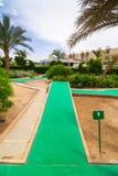 Tropical resort Three Corners Sunny Beach hotel. HURGHADA, EGYPT - APR 9, 2013: Mini golf of Three Corners Sunny Beach in Hurghada on 12 April 2013. Three Royalty Free Stock Image