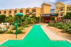 Tropical resort Three Corners Sunny Beach hotel. HURGHADA, EGYPT - APR 9, 2013: Mini golf of Three Corners Sunny Beach in Hurghada on 12 April 2013. Three Stock Photos