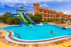 Tropical resort Three Corners Sunny Beach hotel. HURGHADA, EGYPT - APR 9, 2013: Tropical resort Three Corners Sunny Beach in Hurghada on 12 April 2013. Three Stock Photos