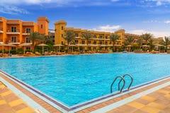 Tropical resort Three Corners Sunny Beach hotel. HURGHADA, EGYPT - APR 9, 2013: Tropical resort Three Corners Sunny Beach in Hurghada on 12 April 2013. Three Royalty Free Stock Photo