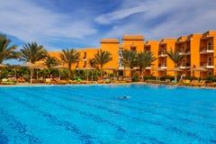Tropical resort Three Corners Sunny Beach hotel. HURGHADA, EGYPT - APR 9, 2013: Tropical resort Three Corners Sunny Beach in Hurghada on 12 April 2013. Three Royalty Free Stock Photography
