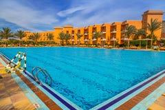 Tropical resort Three Corners Sunny Beach hotel. HURGHADA, EGYPT - APR 9, 2013: Tropical resort Three Corners Sunny Beach in Hurghada on 12 April 2013. Three Stock Image