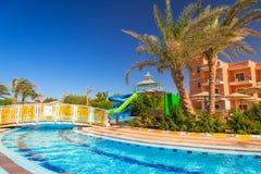 Tropical resort Three Corners Sunny Beach in Hurghada. HURGHADA, EGYPT - APR 13, 2013: Tropical resort Three Corners Sunny Beach in Hurghada. Three Corners is Royalty Free Stock Photography