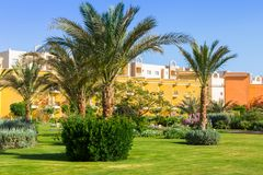 Tropical resort Three Corners Sunny Beach in Hurghada. Royalty Free Stock Photo