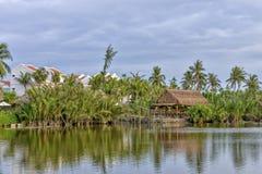 Tropical resort at the Thu Bòn River in Hoi An, Vietnam Stock Photo