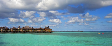 Tropical resort on turquoise sea Royalty Free Stock Photos