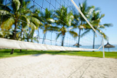 Tropical resort with volleyball court Stock Image