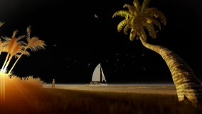 Tropical resort with yacht sailing and woman running on the beach at sunset stock video