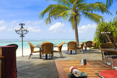 Tropical restaurant by the ocean Stock Image