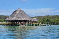 Tropical restaurant over water Central America Stock Photography