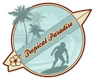 Tropical retro-surf. Retro surf - emblem with surfer's silhouette, palmtrees, abstract waves and copy-space Royalty Free Stock Photo
