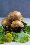 Tropical ripe organic kiwi fruit with leaves ready to eat Royalty Free Stock Photo