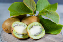 Tropical ripe organic kiwi fruit with leaves ready to eat Stock Images
