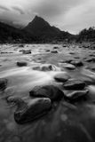 Tropical river and mountain in black and white Stock Image