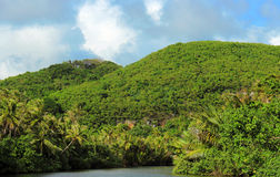 Tropical River and Mountains. A picture of a Ugum River that runs through Guam royalty free stock photography