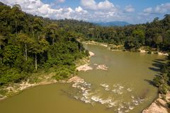 Tropical river and rainforest aerial view. Aerial view of the Tembeling river in the Taman Negara tropical rainforest , Malaysia stock photo