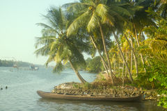 Tropical rivers of India. Picturesque leaned over water palm trees, narrow dugout boat Stock Photo
