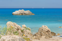 Tropical rocky beach landscape Royalty Free Stock Photo