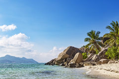 Tropical rocky beach Seychelles Royalty Free Stock Images